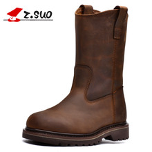 2017 Z.Suo Men's Boots Leather Men Motorcycle Boots High-quality In-tube Retro Fashion Western Boots Man Botas Hombre Martins