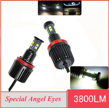 2Pcs LED Angel Eyes Marker for BMW E60 E61 E63 E64 E70 X5 E71 X6 E82 E87 E89 Z4 E90 E91 E92 E93 40W H8 CREE LED Chips HID light(China)