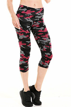 Women Deep Rose Pink Camouflage Fitness Exercise Leggings Quick Drying Mid Calf Energy Pants Trousers Ropa Mujer(China)
