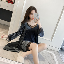 Buy Autumn Winter New Arrival Kimono Bathrobe Gown Women's Velvet Robe Gown Lace Sexy Intimate Lingerie Korean Bathrobe M-XL