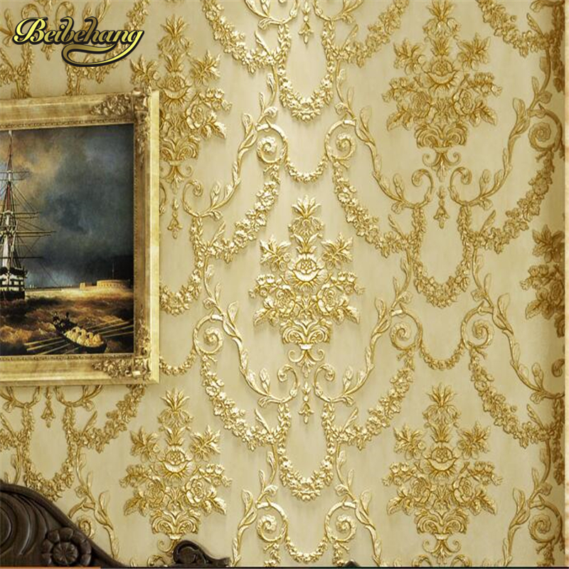 beibehang 3D three-dimensional sculpture wallpaper retro European style bedroom living room TV background long fiber AB<br>