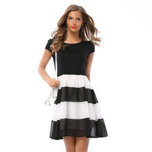 Hot Women Summer Dress O Neck Classic White And Black Strip Casual Patchwork Dresses Plus Size Work Party Short Sleeve vestidos
