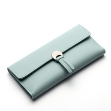 envolpoe hasp tassel women long wallet slim top leather purse thin coin pocket solid three fold lady clutch bag for girl student(China)