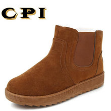 CPI New Fashion design British Style Men's winter snow boots genuine sheepskin leather natural fur lined for boots PP-82(China)
