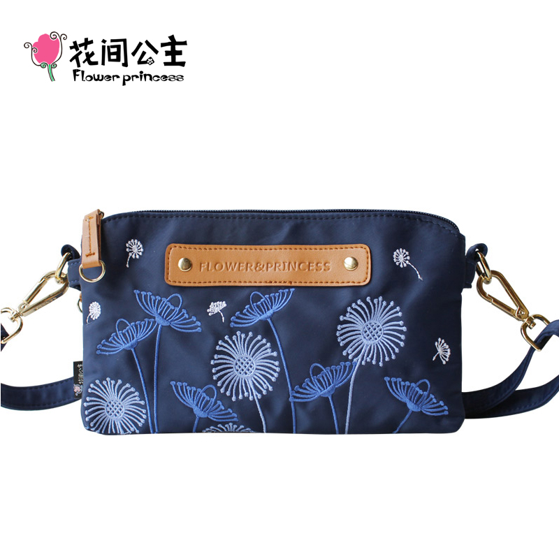 Flower Princess Brand Women Fashion Shoulder Bag Ladies Double Zipper Bag Teenage Girls Embroidery Messenger Crossbody Bags<br>