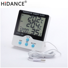 Updated Digital Thermometer Hygrometer Electronic Temperature Humidity Meter Weather Station Indoor Outdoor Tester Alarm Clock(China)