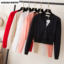 Short Cardigan Female 2017 Autumn Winter Women's Long-Sleeved Sweater Knitted Cardigans For Woman Jacket Tops with Pocket