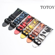 TOTOY Natural Rubber For Iwatch 2/1 Watchbands, 42MM For Apple Watch Camouflage Rubber Strap, Fast Shipping(China)