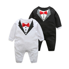 Tem Doger Baby Romper Autumn New 100% Pure Cotton Baby Clothing Bow tie Design Infant Clothing Baby Boy Jumpsuit Newborn Clothes