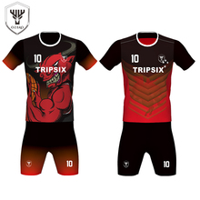 black and red color mix football jersey,sublimation printing ladies soccer jersey(China)