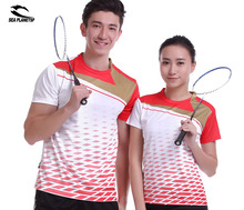 SEA PLANETSP Sportswear sweat Quick Dry breathable badminton shirts , Women / Men table tennis clothes team game short sleeve