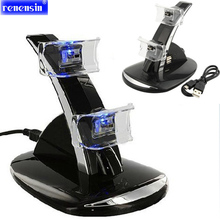 PS3 LED Light Dual USB Powered Charging Dock Stand Holder Support Charger For Sony PlayStation 3 PS3 Controller Game Accessories(China)