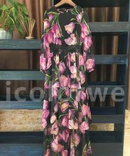 Fashion 2017  Spring Women Italy Tulip print Expasion Hem Beach Elegant Dress Maxi Long Dress New Arrival
