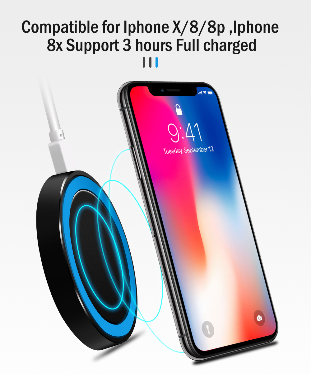Proelio Mini Qi Wireless Charger USB Charge Pad Charging For iPhone X 8 8 Plus Samsung Galaxy S6 S7 Edge S8 Plus Note 5 8 Nokia (11)