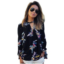2016 Spring Autumn Women Chiffon Long Sleeve Floral Print Casual Club Shirt Blouse Top Street Style ZM0096