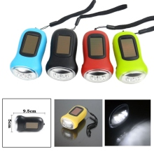Portable 3 LED Solar Powered Flashlight Hand Crank Dynamo Mini Torch Light For Outdoor Hiking Camp Lamp Random Color