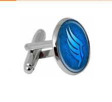 handmade fashion Mass effect glass dome  Blue Round Charm dome gift send of friend High Quality Cufflinks jewelry