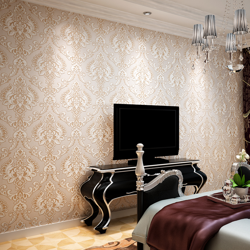 beibehang Continental stereoscopic 3D video non-woven wallpaper Damascus luxury European style flower wallpaper for walls 3 d<br>