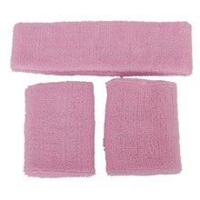 1x Headband and 2x Elastic Wrist bands for Sports - Pink