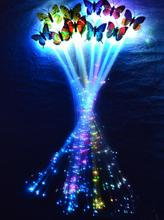 LED flash butterfly fiber braid party KTV lighted up glow luminous hair extension rave halloween decor Christmas festive favor(China)