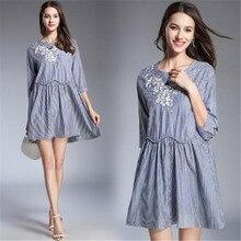 2018 new Bohemia brand women s fashion embroidery round neck seven split sleeves  striped loose fitting dress 3db24b71b14b