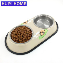 Huiyi Home Pet Dog Bowl Food Water Dish Stainless Steel Pets Feeder Double Bowls Non Slip Feeding Tray Pets Supplies ENI015(China)