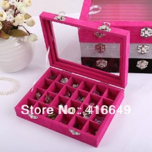 Free shipping 24 Slots wood velvet jewelry display box,Jewelry Display Rings Organizer Show Case Holder Box(China)