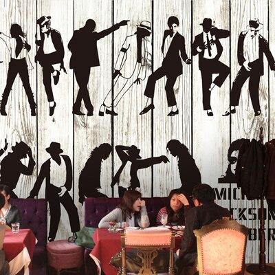 Large self-adhesive PVC 3D wallpaper restaurant cafe KTV large mural 3D wallpaper star Michael Jackson<br>