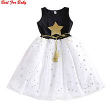 Summer Children Kid Girls Dress Stars Sequins Tulle Bow Dress Tutu Dress Baby Dress