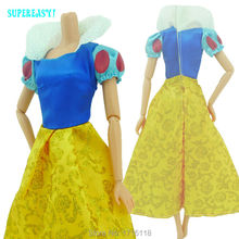 "Fairy Tale Princess Dress Copy Snow White Cartoon Wedding Gown For Barbie Doll 11.5"" 12"" Puppet Play House Toys Gift Kids Love"