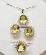 Citrine jewelry set 2.4ct*4pcs gems Natural real citrine Set includes ring earring pendant set 925 sterling silver #13083004