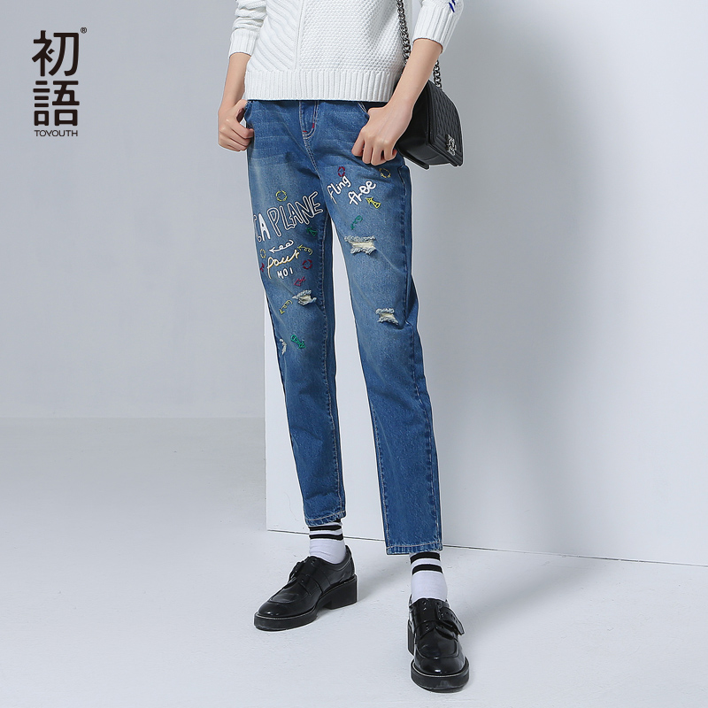 Toyouth Brand Women Embroidery Design Denim Jeans Ripped Jeans Fashion Causal Girls Autumn Pants Female Hole Slim JeansОдежда и ак�е��уары<br><br><br>Aliexpress