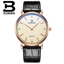 Top Brand Binger Mens Watches Rose Gold Luxury 2 hand Function Watch Military Men's Genuine Leather Quartz Wrist Watch