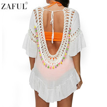 ZAFUL 2017 Women Sexy Colored Tassel See-Through Crochet Tunic Beach Cover Up Swimwear Summer Bikini Cover Up Swim Beach Dress