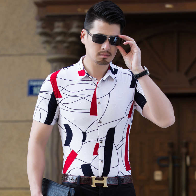 2019 Summer Men Short Sleeve Baroque Design Print Casual Dress Shirt Top Tees UK