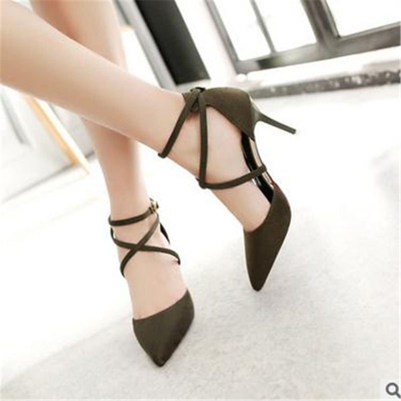 2017 summer new suede fine with pointed high heels sandals word buckle hollow casual women sandals<br><br>Aliexpress