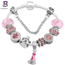 Buy BAOPON Catoon Style Antique Silver plated Charm Bracelet Child Murano Glass Beads Pandora Bracelets Child DIY Jewelry for $2.84 in AliExpress store