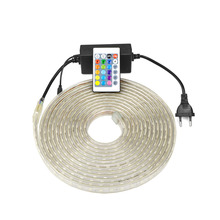 220V Waterproof SMD 5050 1m - 25m led tape flexible led strip light with EU plug / RGB with remote control outdoor lighting