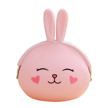 New Fashion Cute Cartoon Pink Lovely Rabbit Soft Silicone Coin Purse Women's Wallet Candy Color Pouch Girls Key Bag Kid Gift(China)