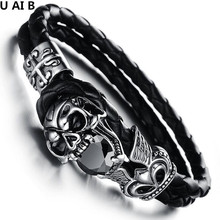 Tide of the street dancing hand chain explosion jewelry personality personality domineering leather bracelet(China)