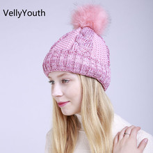 VellyYouth Brand New Fashion Style Knitted Fur Winter Women's Hat Female Warm Cap Cashmere Skullies Beanies Girl(China)