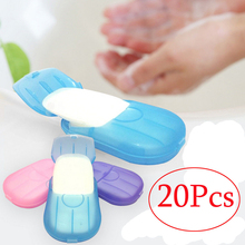 New 20pcs Outdoor Travel Soap Scented Slice Sheets Paper Washing Hand Bath Clean Wash Care with Case for Camping Hiking(China)