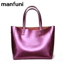 MANFUNI Top-handle Bags Women 100% Genuine Leather Italian Fashion Luxury Famous Casual Tote Woman Bag Crossbody Shoulder Bags(China)