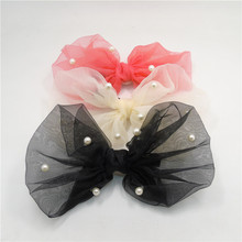 5pcs/lot Gauze Bow Hair Clips Big Bowknot Gift Hairbow Barrettes with Simulated Pearls Red Cream Black Girl Large Hair Grips
