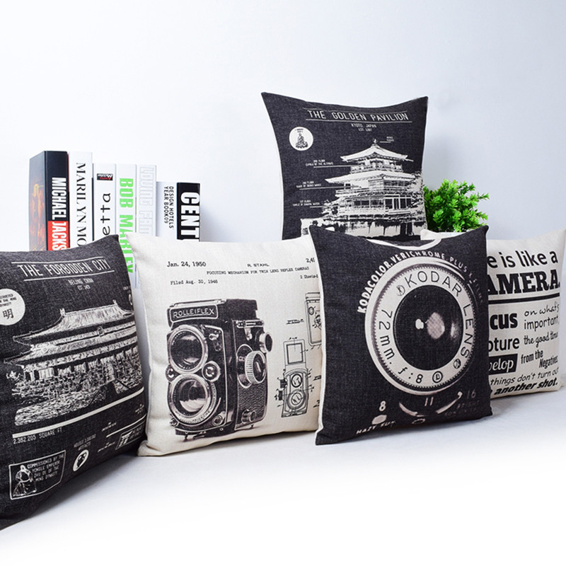 Vintage Camera Newspaper Cushion Cover Pillowcase The Golden Pavilion The Forbidden City Black and Beige Pillow Covers 1