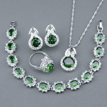 925 Sterling Silver Jewelry Sets For Women Green Cubic Zircon White Zircon Bracelets/Earrings/Pendant/Necklace/Rings Free Box
