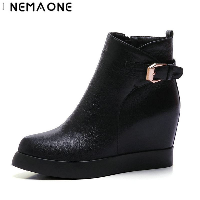 NEMAONE 2017 Big Size 34-43 autumn Boots Fashion Women Boots wedges Heels pointed Toe Platform Winter black gold silver boots<br>