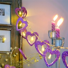 2017 Hot Sale 20/30/40 Light Sources Heart Shape Purple Lantern Lamp Light bead string Wedding Valentine Party Home Room Decor(China)