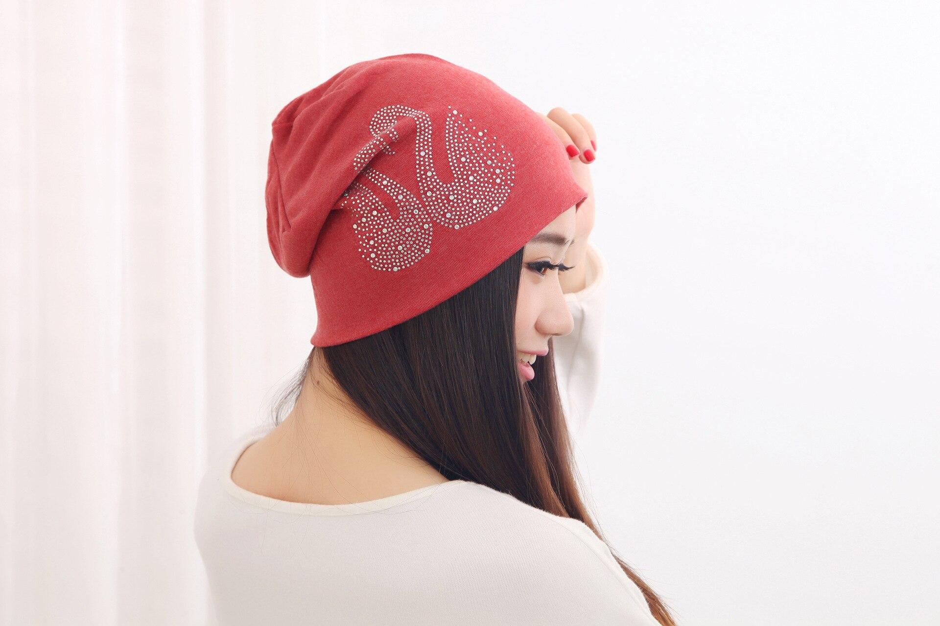 Autumn Winter Cotton Women Beanies with Set Auger Swan Fashion Ladies Skull Knitted Caps Gorro Set Head Pile Cap GH-148