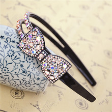 Luxury Bow Rhinestone Hairband Sweet Hair Accessory Crystal Hair Bands Wide Full Crystal Broadside S Twist Headband 10 Colors(China)